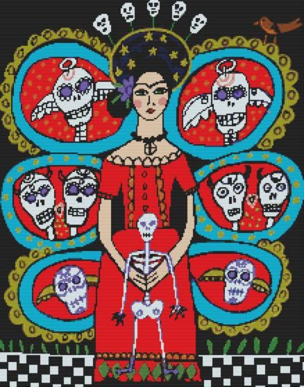 Day of the Dead cross stitch kit by Heather Galler ' Day of the Dead - Frida Kahlo with skulls', counted cross stitch, modern cross stitch on Etsy, $97.09 AUD