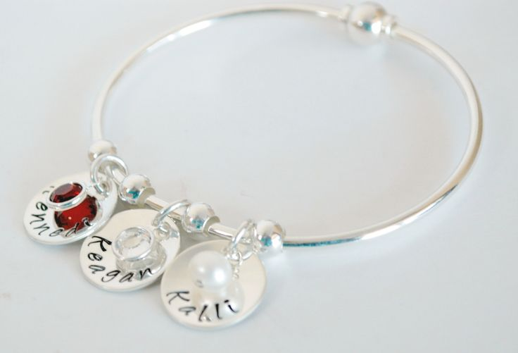 Personalized Bangle Bracelet With Name Charms