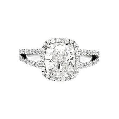 Irina Ferry Platinum Rectangular Cushion Cut Diamond Engagement Ring