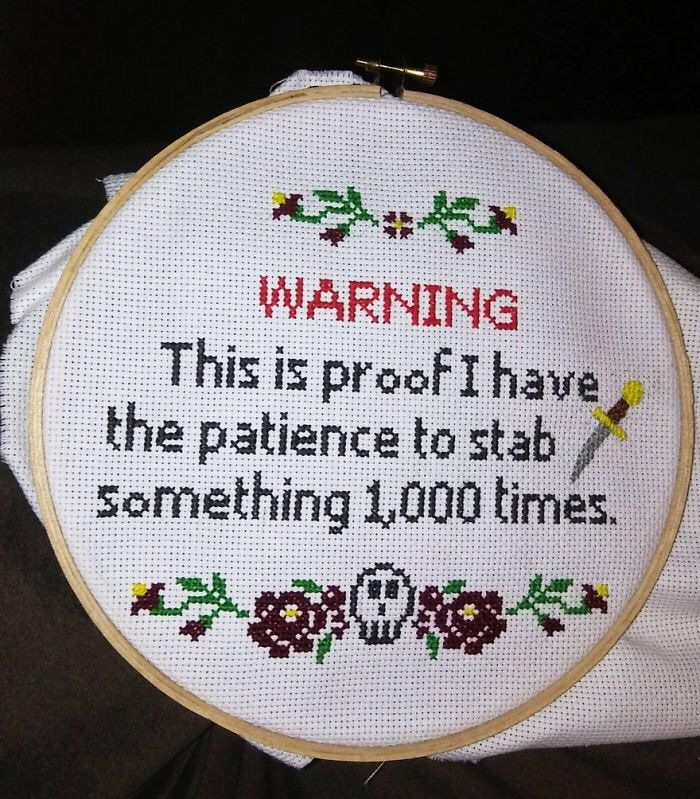 "Pat Cadigan on Twitter: ""Woke up this morning: I'm taking up cross-stitch, Mortality, so STFU & GTFOff my lawn:… """