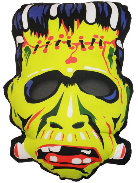 Vintage Frankenstein Mask Pillow