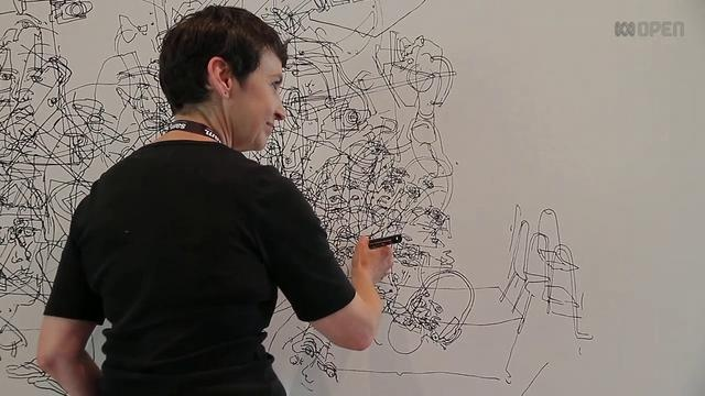 Gosia on the Drawing Wall by ABC Open Goulburn Valley. Gosia Wlodarczak likes to draw. Her creations capture movements, conversations, events and actions that take place in her surroundings. She believes the walls store events, she just helps to make them more visible.