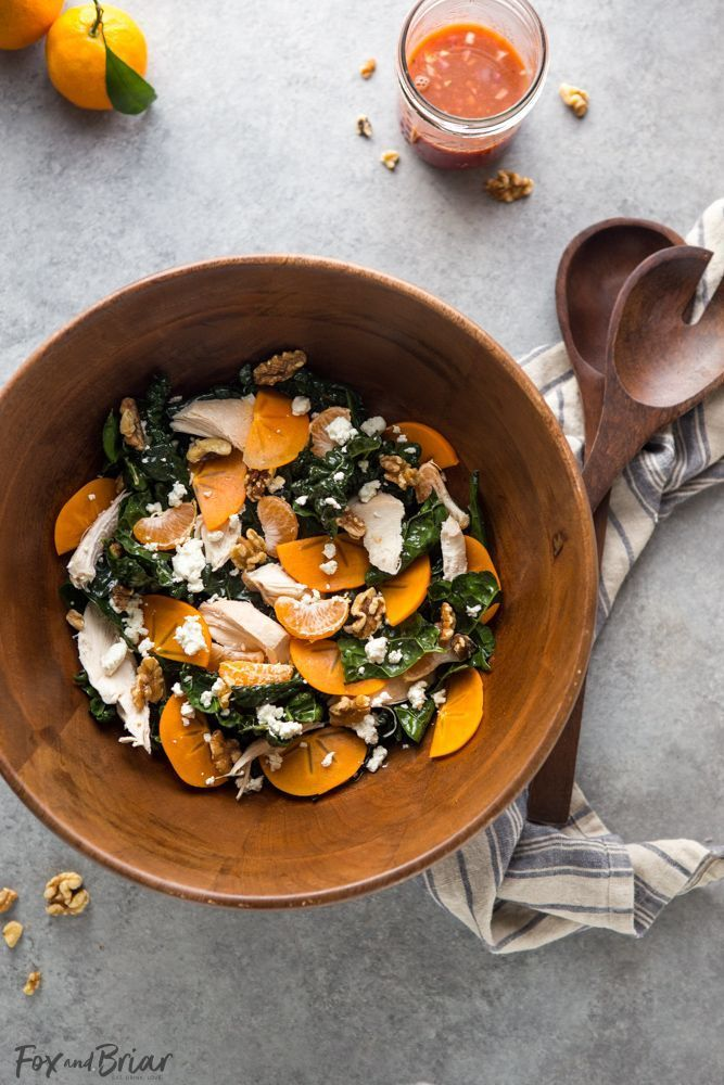 This Citrus Kale Salad with Blood Orange Vinaigrette is a healthy and refreshing winter detox salad. After an indulgent holiday, this is a great way to use up leftover turkey or chicken and get some much needed nutrients between all the crazy holiday eating! Blood orange vinegrette recipe | Leftover turkey recipes | Persimmon recipes | detox salad | Winter Salad recipe | Healthy winter recipe | leftover chicken recipe | recipe to use rotisserie chicken #Detoxsalad