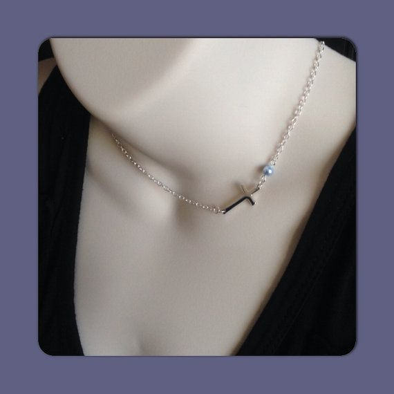 Sterling Silver Side Cross Necklace with Pearl by ModernExpression