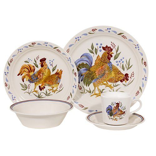 Country Living Dishes   Corelle 20 Pc. Livingware Country Morning Dinnerware  Set, Red · Rooster KitchenMother ...