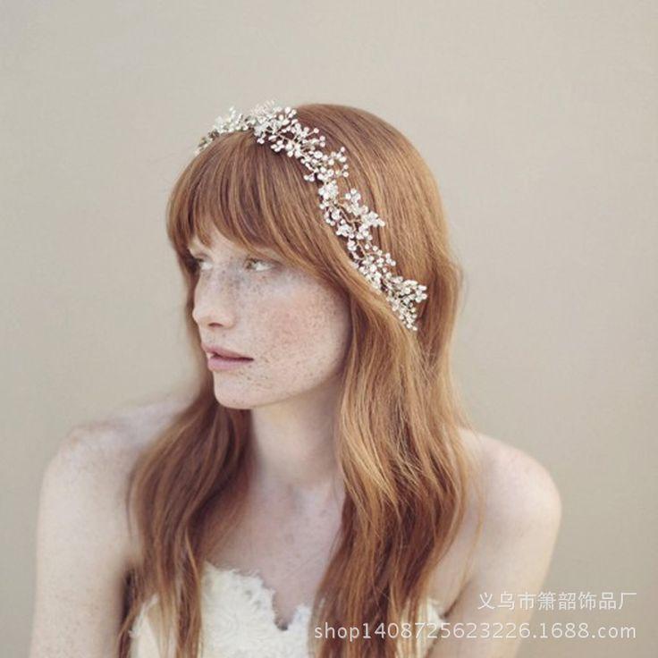 2017 Новый невесты ручной головной убор цветок ювелирные изделия кристалл украшения бусы Корейский свадебные свадебные аксессуары цепь мягкие волосы купить на AliExpress