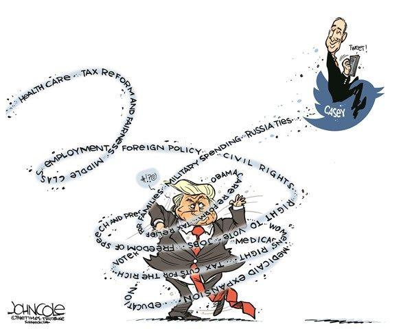 John Cole - The Scranton Times-Tribune - Casey and Trump - English - Bob Casey, Donald Trump, senator, liberal, twitter, medicare, medicaid, obamacare, taxes, 2020 election, Pennsylvania