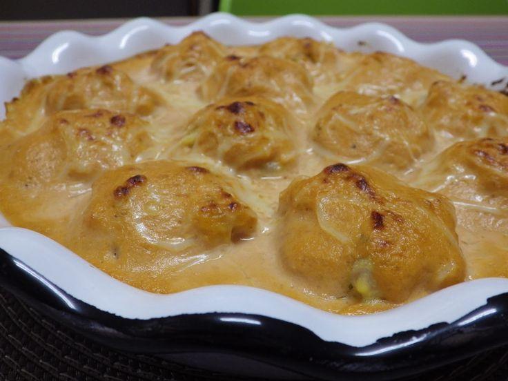 La Cocina de Olga: HUEVOS rellenos de GAMBAS CON SALSA DE ESCALIVADA @ RecetarioMañoso
