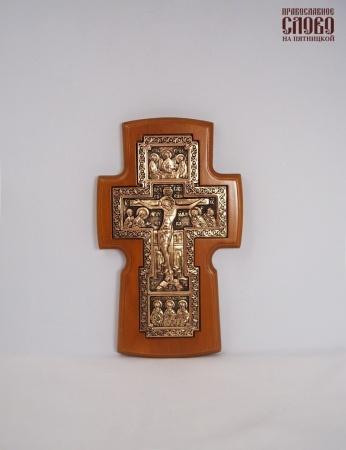Крест деревянный (Г) 17109, настенный, с вклейкой из гальваники, медь, ольха.