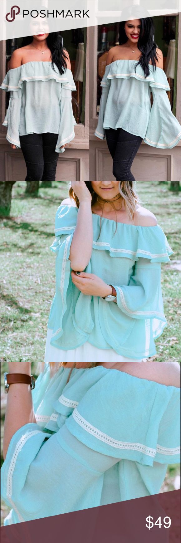 "🌹COMING SOON🌹 Love Me More Mint Top This semi sheer crinkled top is my favorite in this stunning mint color! Features ruffle top and sleeve detail with crochet trimming. One medium & one large. Preorder now! Bust: M - 42"", L - 46"" Length: M - 19"", L - 20"". (NOT Anthropologie, just tagging brand for exposure.) Anthropologie Tops"