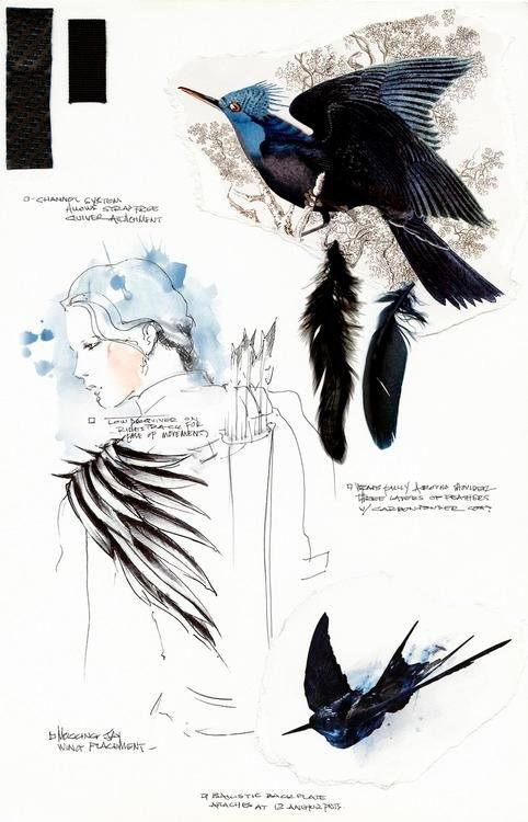 Katniss battle costume sketch by Cinna in Mockingjay Part 1