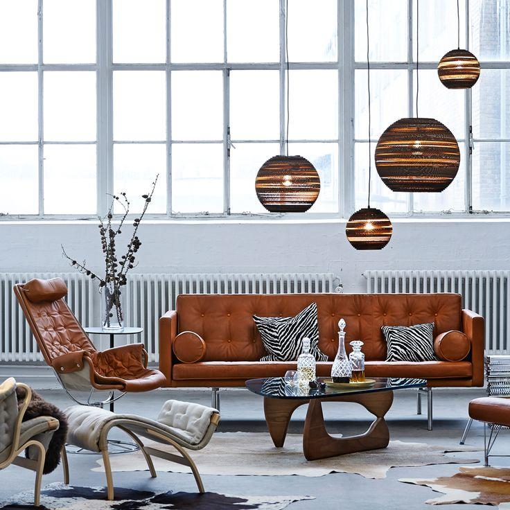 Ritzy soffa - 3-sits, läder natur - Soffor – Möbler från Svenssons i Lammhult