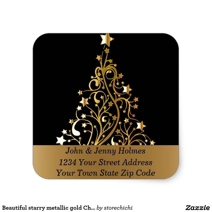 Beautiful starry metallic gold Christmas tree