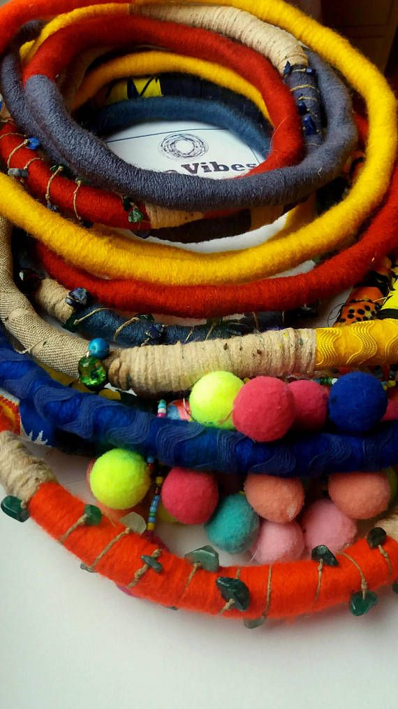 Unique/ Yarn Wrapped Necklace/ African Inspired/ Jewelry