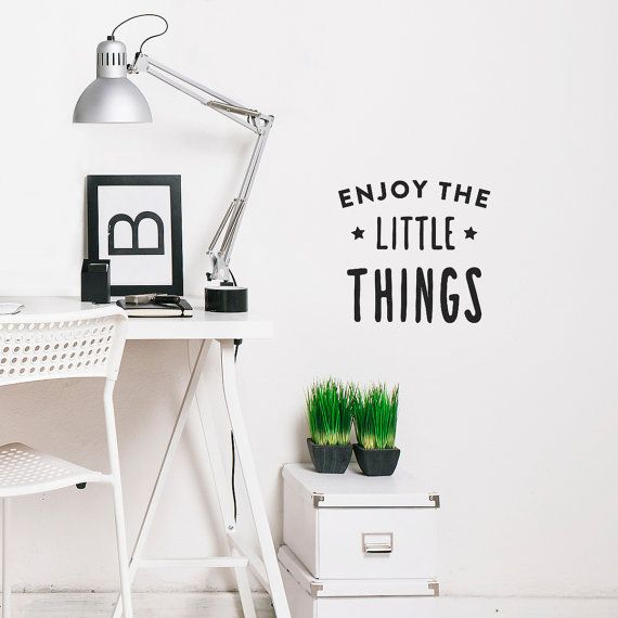 """Enjoy the little things"" wall decal quote by Made of Sundays!! Very cool for the office, home or the nursery room #walldecals #madeofsundays #enjoythelittlethings"