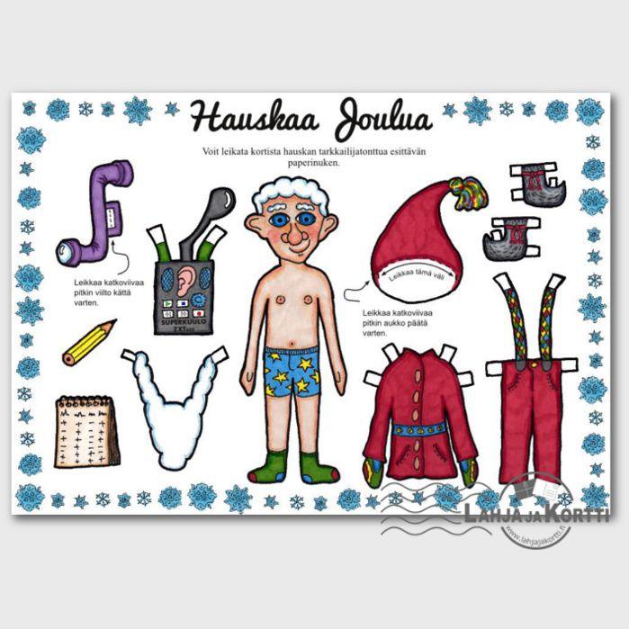 Tästä joulukortista syntyy Tarkkailijatonttu-paperinukke, jolla leikkiessä joulu tulee kuin leikiten :)