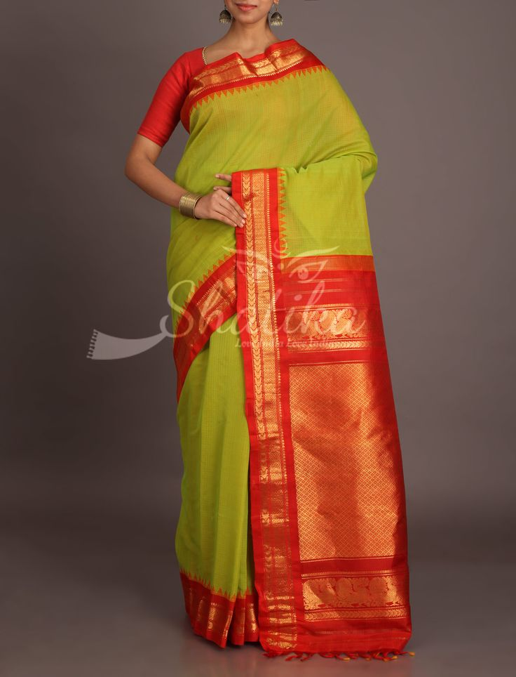Pavitra Olive Green With Blood Red Gold Ornate Temple Bordered Pure Gadwal Silk Cotton Saree