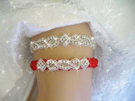 Color Choice Rhinestone Wedding Garter Set Etsy Accessories Belts Red