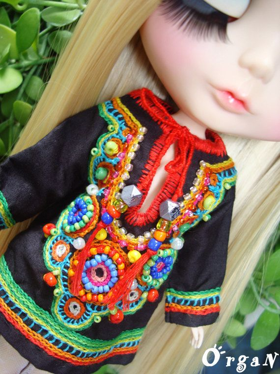 OOAK Little India ART Tunic  CooL ChiC  Black by organ111 on Etsy, $39.00