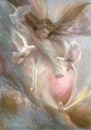 Angel with doves - Feel Gods love - http://www.godslovenet.com Weirdly enough, I rarely like paintings with doves in it. They're just so white and stupid. I like this one though.