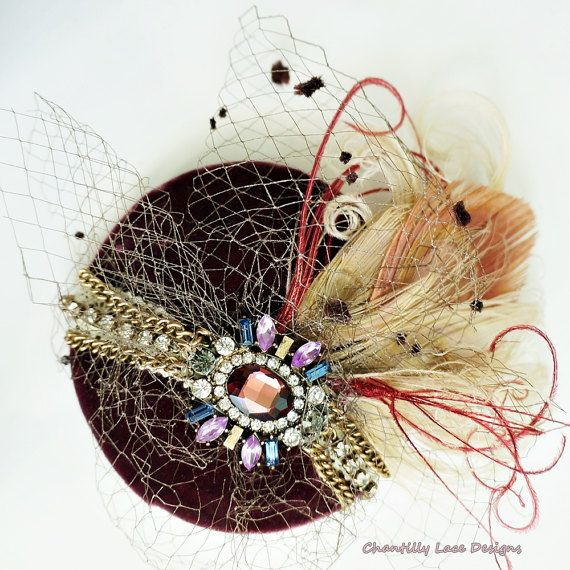Burgundy Velvet Vintage Jeweled Bleached by ChantillyLaceDesigns