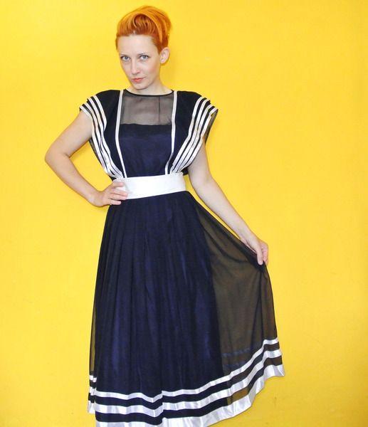 70er Abendkleid Vintage Matrosenkleid Yvette Paris von  Polyestershock auf DaWanda.com