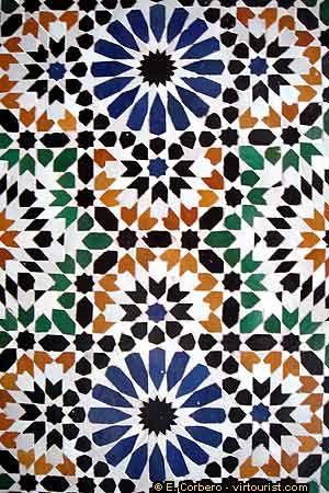 Marrakech, Bahia Palace, tiled mosaic