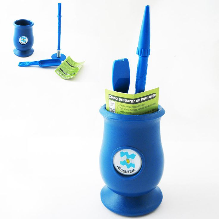 Argentina Mate Gourd Yerba Plastic Tea Cup With Straw Bombilla Kit Gift 9334 Blu
