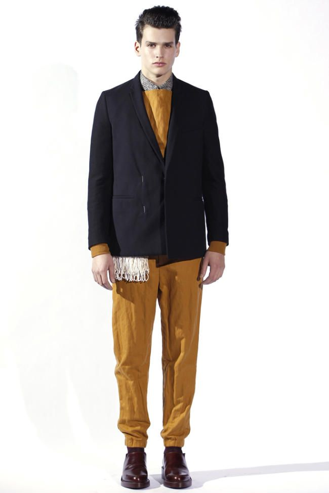 I like that scarf action happening below the jacket. Thanks, Phillip Lim!