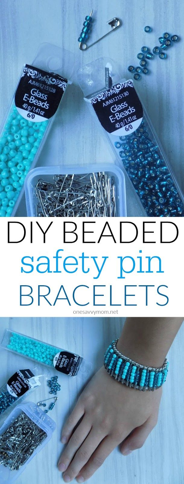 DIY Beaded Safety Pin Bracelets - Fun Tween and Teen Craft / Jewelry Making Idea - Simple Supplies
