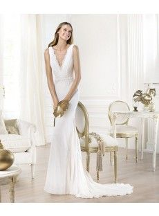 Chiffon Sheath Column Wedding Dress