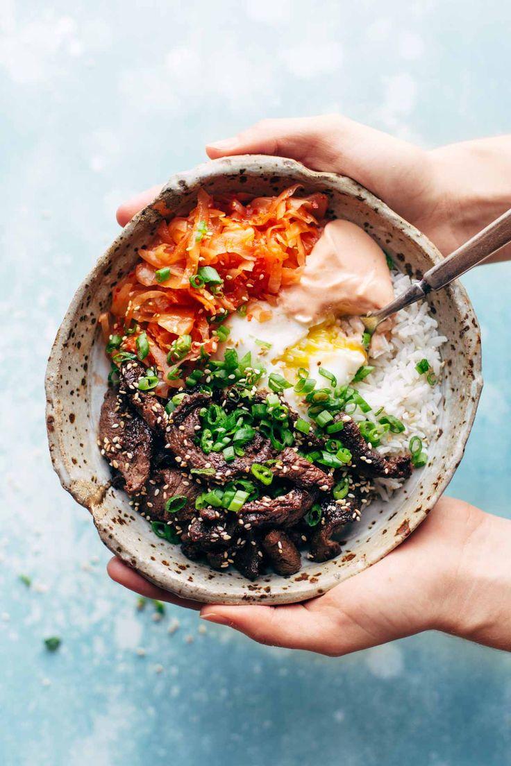 Korean BBQ Yum Yum Bowls: easy marinated steak, spicy kimchi, poached egg, rice, and yum yum sauce! | pinchofyum.com