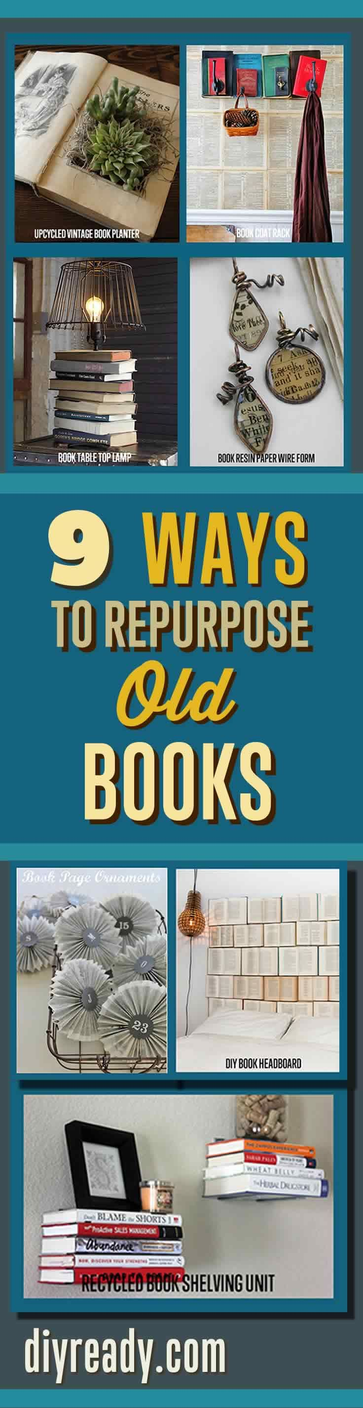 Craft Projects Ideas with Old Books. Repurposed Items can can used to make creative home decor. Check out these DIY Projects Tutorials for Books  for Ideas >> http://diyready.com/diy-projects-made-from-old-books/
