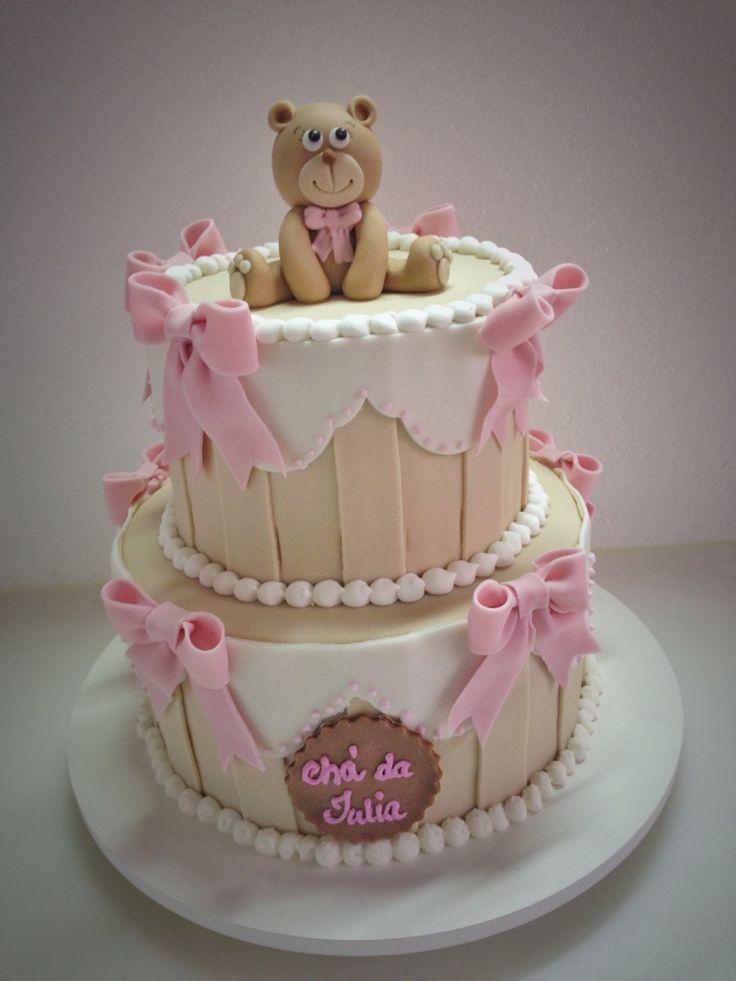 Bolo de ursinho para chá de bebê de menina! #pink #teddybear #babyshower #cake