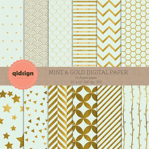 Hey, I found this really awesome Etsy listing at https://www.etsy.com/listing/239607165/mint-gold-digital-paper-chevron-stripes