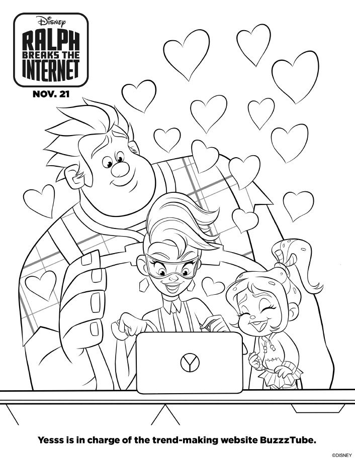 Ralph Breaks The Internet Coloring Pages Free Printables Disney Coloring Pages Cartoon Coloring Pages Princess Coloring Pages
