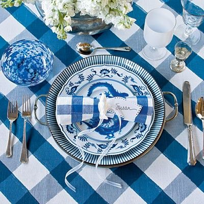 Southern Living: China Patterns, Southern Living, Tables Sets, Blue Table, White Dishes, Places Sets, Southern Wedding, Buffalo Check, Blue And White