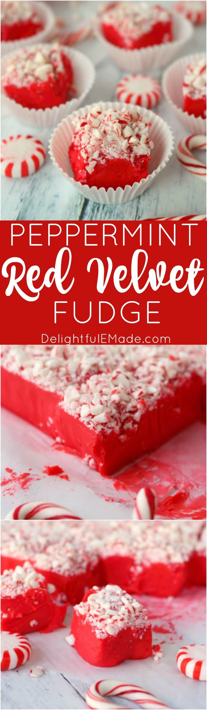 This gorgeous Peppermint Red Velvet Fudge is the perfect way to ring in the holiday season! This easy microwave fudge recipe is perfect for your holiday candy trays, cookie exchanges and Christmas parties!