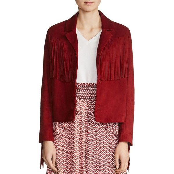 Maje Varsity Fringe Suede Jacket ($378) ❤ liked on Polyvore featuring outerwear, jackets, red, hippie jacket, red fringe jacket, red jacket, boho jacket and suede leather jacket