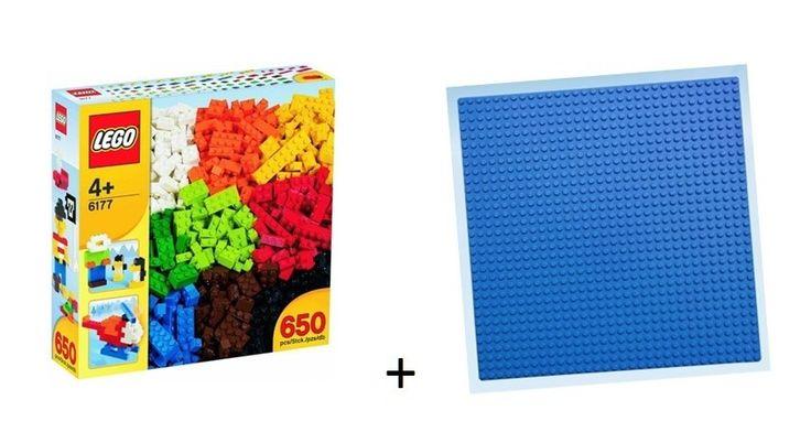 lego 6177- lote de peças -650 peças coloridas+ base 20x20cm