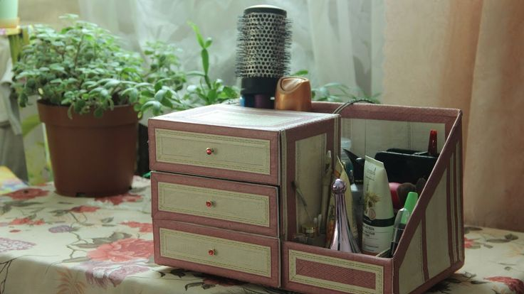 Organizer for cosmetics. Makeup organizer. Ideas from cardboard. Chest o...