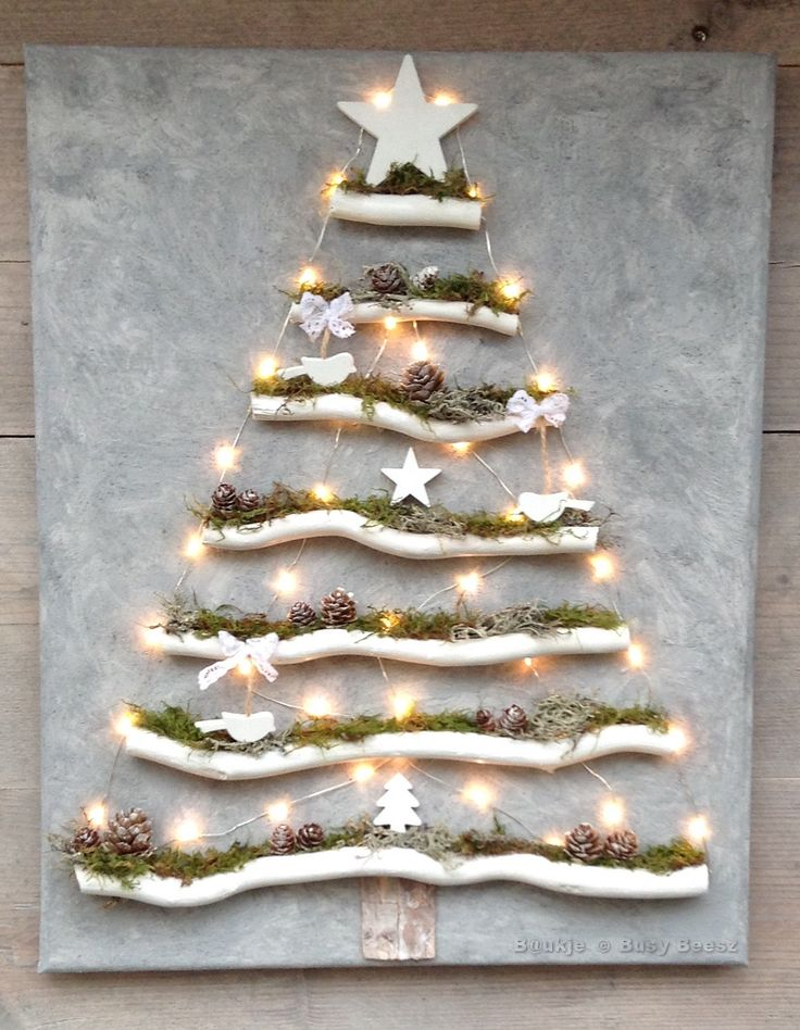 Christmas tree on canvas - Kerstboom op canvas #xmas #led #driftwood