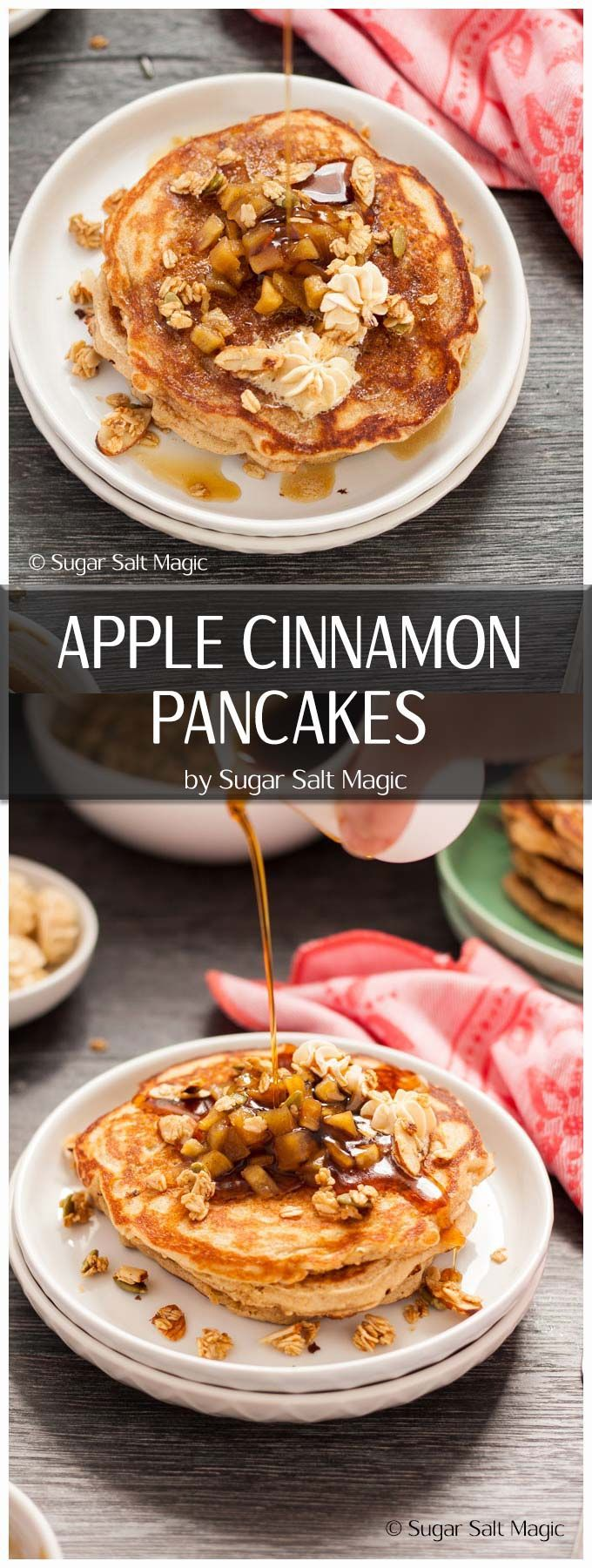 A delicious Apple Cinnamon Pancakes recipe with Quick Maple Granola and Whipped Maple Butter for a special breakfast treat. #pancakes #apples via @sugarsaltmagic
