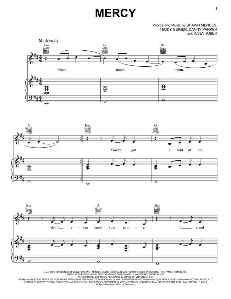 Partition piano Mercy de Shawn Mendes - Piano Voix Guitare (Mélodie Main Droite)