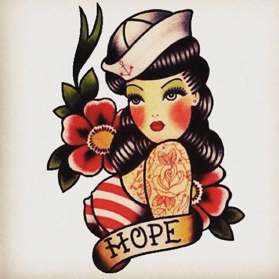 pin up girl anchor tattoo - Google Search
