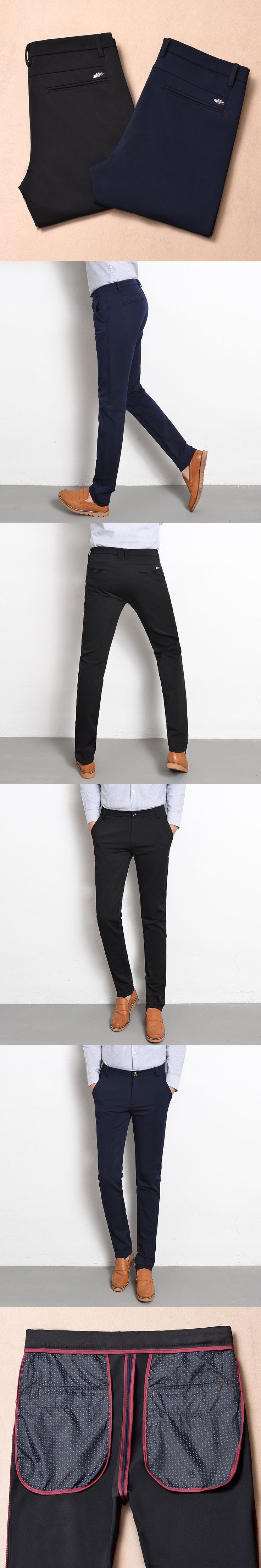 New 2017 fashion high-grade elastic solid color Mens slim leisure business pants / Male feet straight Casual pants Men trousers