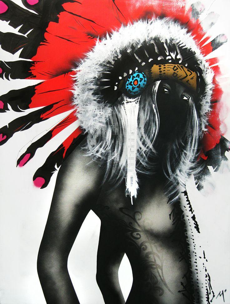 "Original Artwork by Matt Stewart. Size: 90cm (35.4"") x 120cm (47.2""). Acrylic / Aerosol #art #artwork #fashion #home #interiordesign #indianheadpiece #boho #tattoo  #tribal  www.mattstewart.tv"