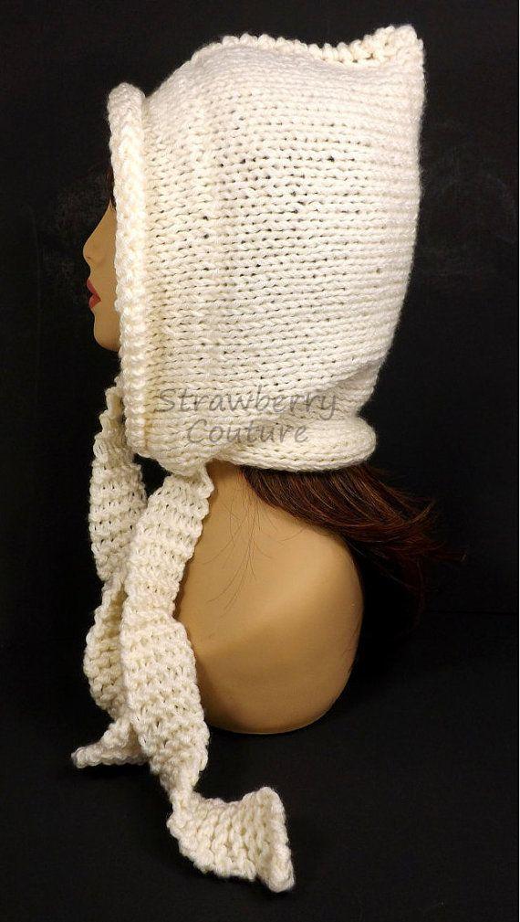 Pixie Hoodie Womens Pixie Hood Oversized Knitting Womens Chunky Knit Hood DESERT Ivory Womens Knit Hood by strawberrycouture by #strawberrycouture on #Etsy