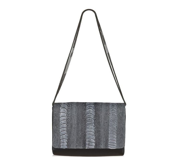 Naledi Copenhagen Charcoal ostrich and black leather bag