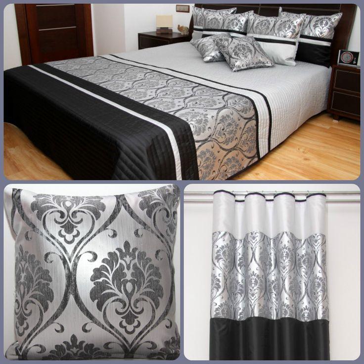 Dekoracyjny czarny zestaw do sypialni w srebne wzory